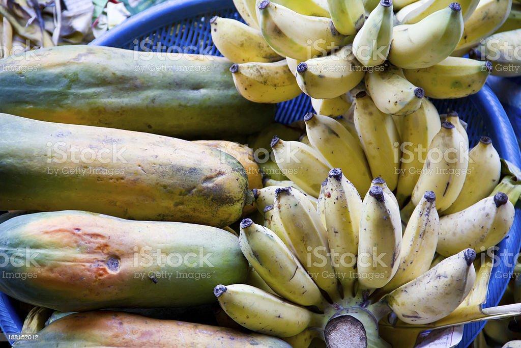 Exotic fruits for sale on Damnoen Saduak floating market royalty-free stock photo