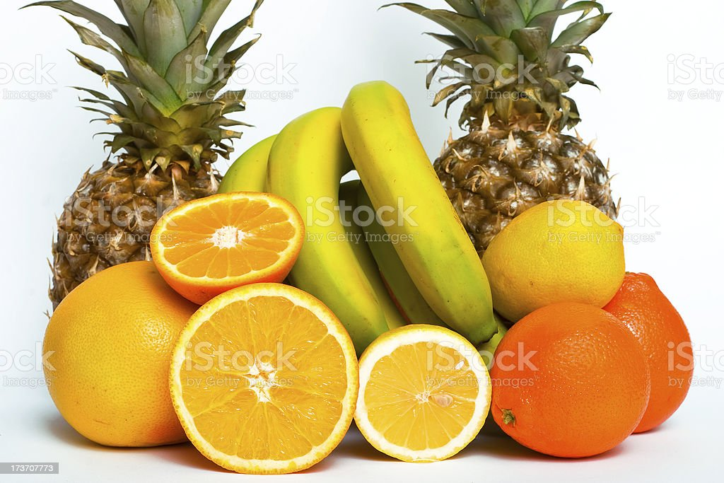 Exotic fruits isolated on white royalty-free stock photo
