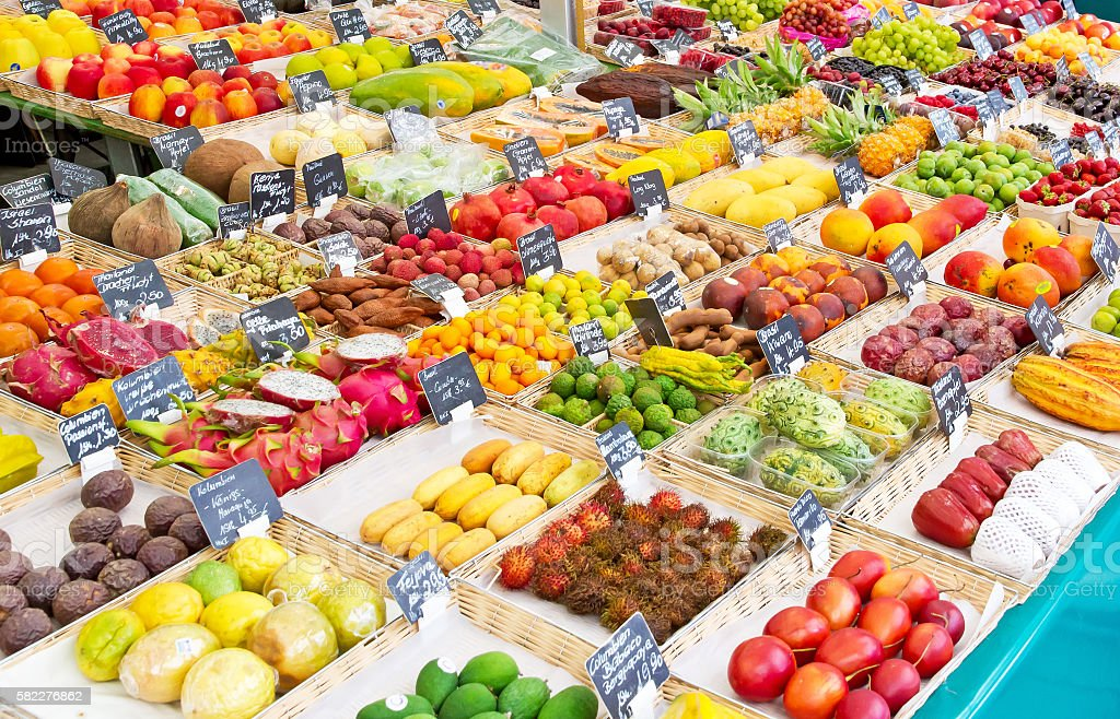 Exotic fruits on a market stock photo