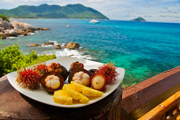 Exotic Fruits Plate stock photo