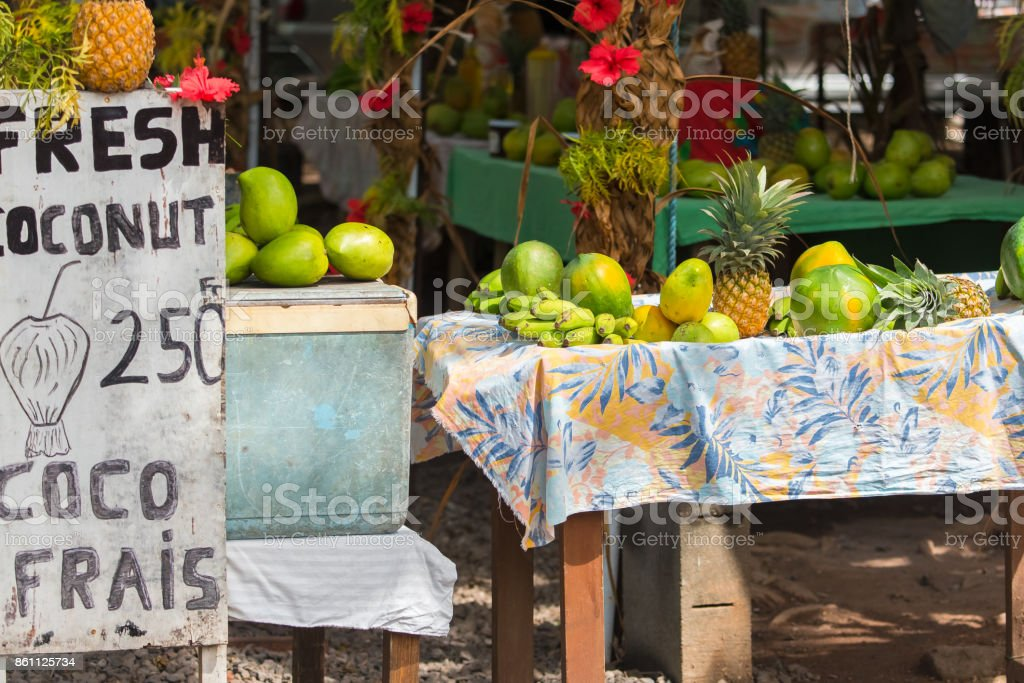 Exotic fruits sold on the road in French Polynesia stock photo