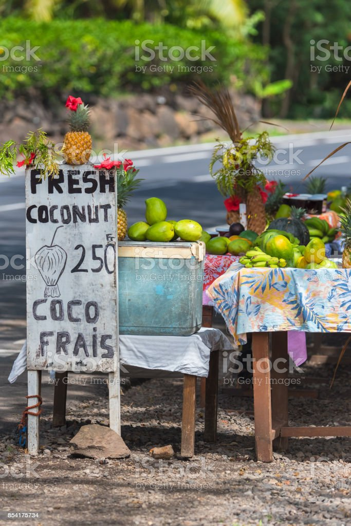 Exotic fruits sold on the road, Moorea stock photo