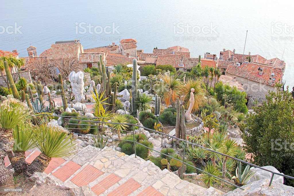 Exotic garden in Eze, south of France stock photo