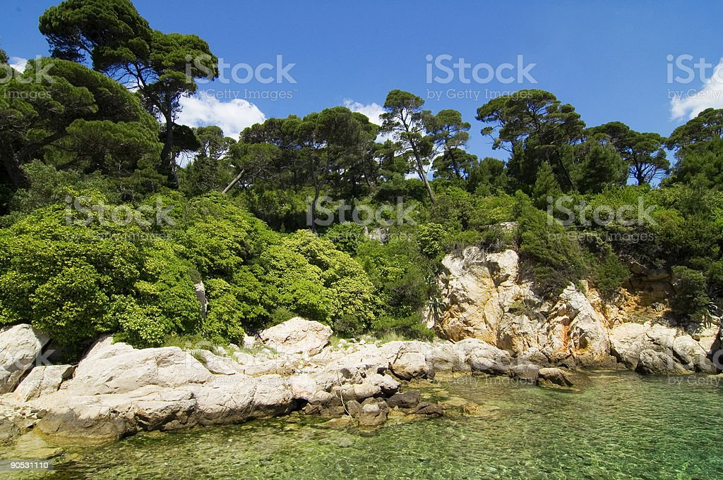 exotic island with transperent water stock photo