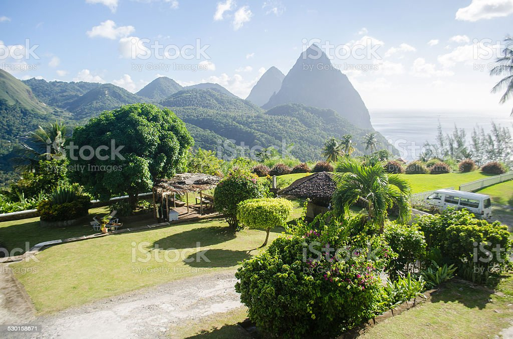exotic landscape of soufriere st lucia stock photo