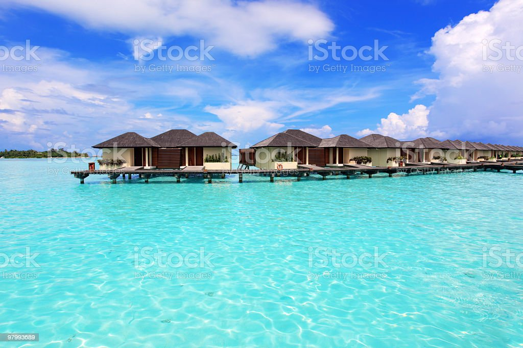 Exotic luxurious bungalows on the water. royalty-free stock photo