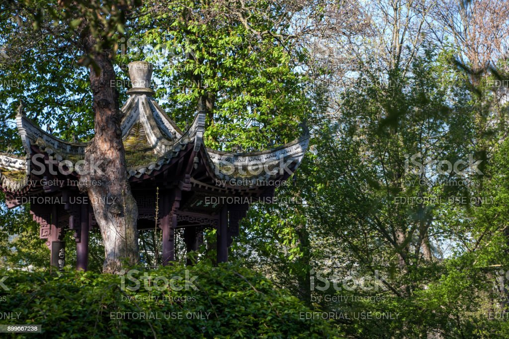 Exotic pagoda in the Chinese garden stock photo
