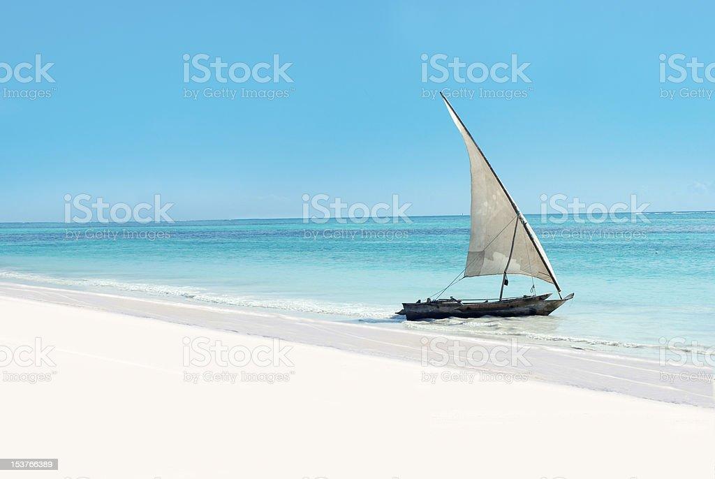 Exotic sail boat stock photo