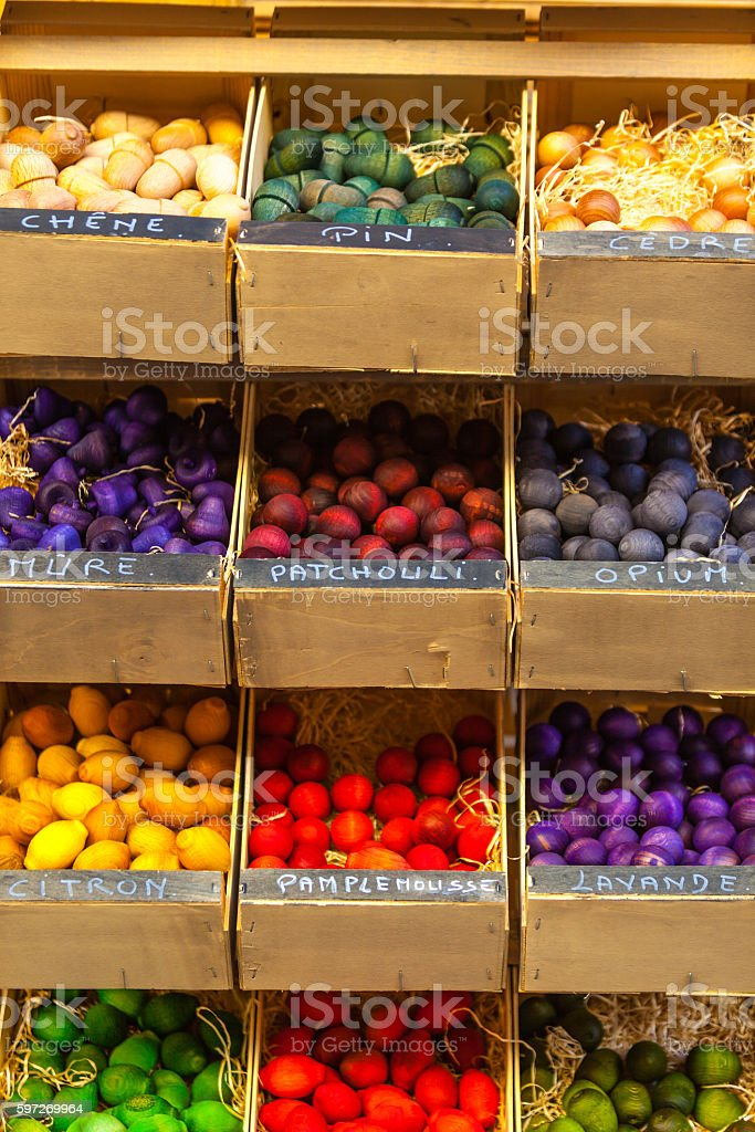 Exotic scented wooden balls for sale in France royalty-free stock photo