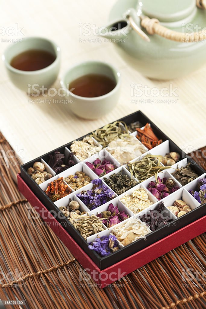 Exotic Specialty Chinese Tea Flavored with Fragrant Flowers and Herbs royalty-free stock photo