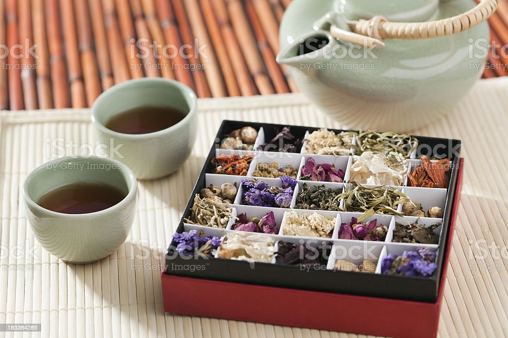 Exotic Specialty Chinese Tea Flavors with Fragrant Herbs and Teapot royalty-free stock photo