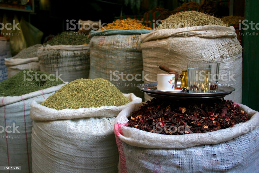 Exotic Spices and a Cup of Tea royalty-free stock photo