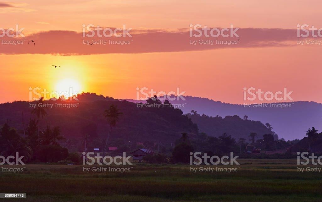 Exotic sunrise inside tropical island. Panoramic view. Langkawi island. stock photo