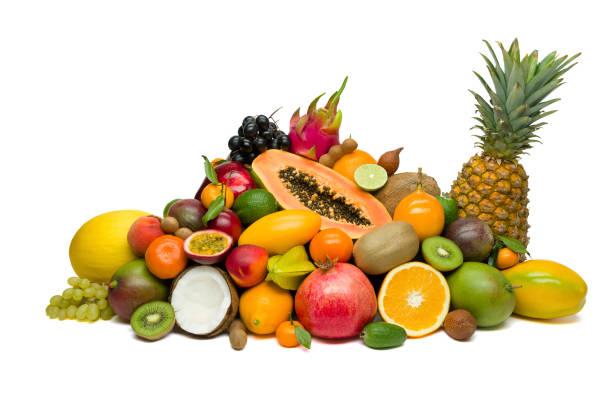 exotiska tropiska frukter isolerad på vit - cactus lime bildbanksfoton och bilder