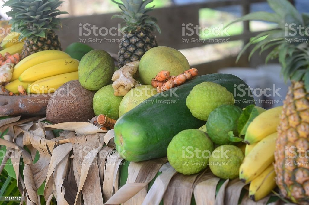 exotic tropical fruits on display stock photo