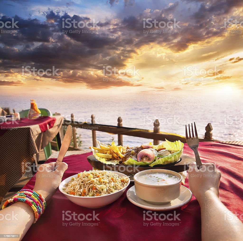 Exotic veg restaurant with ocean view royalty-free stock photo