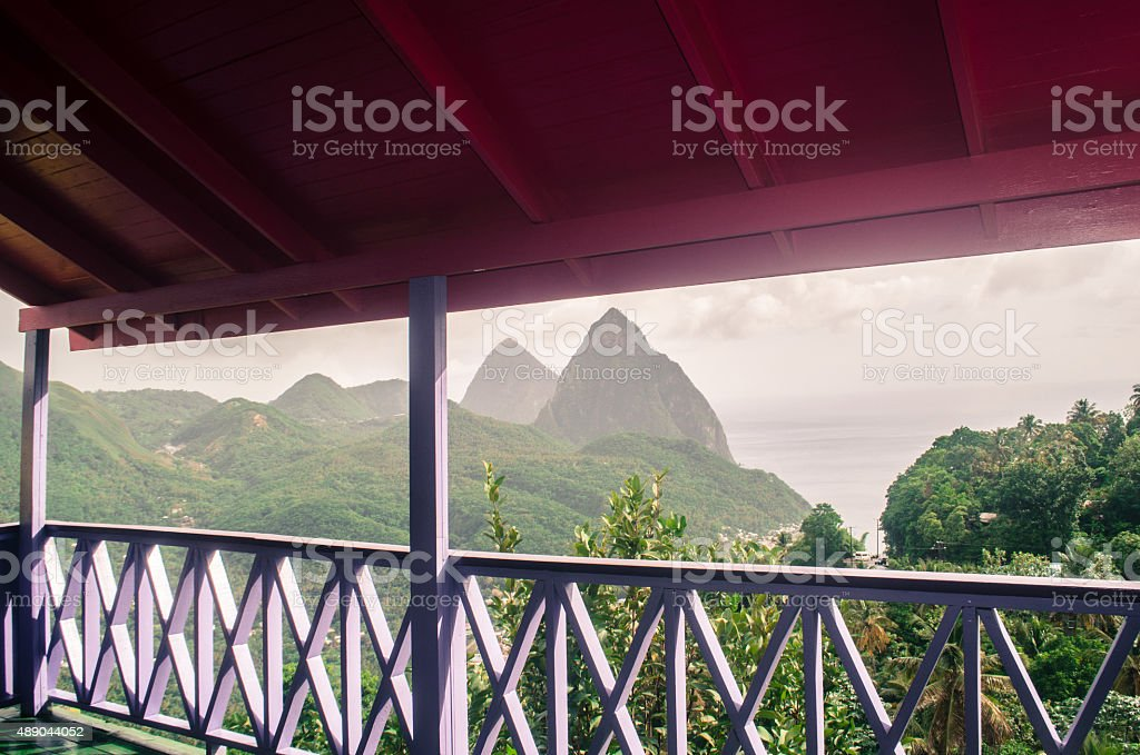 exotic  view of the pitons in soufriere st lucia stock photo