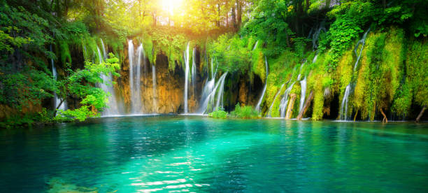Exotic waterfall and lake landscape of Plitvice Lakes National Park, UNESCO natural world heritage and famous travel destination of Croatia. The lakes are located in central Croatia (Croatia proper). stock photo