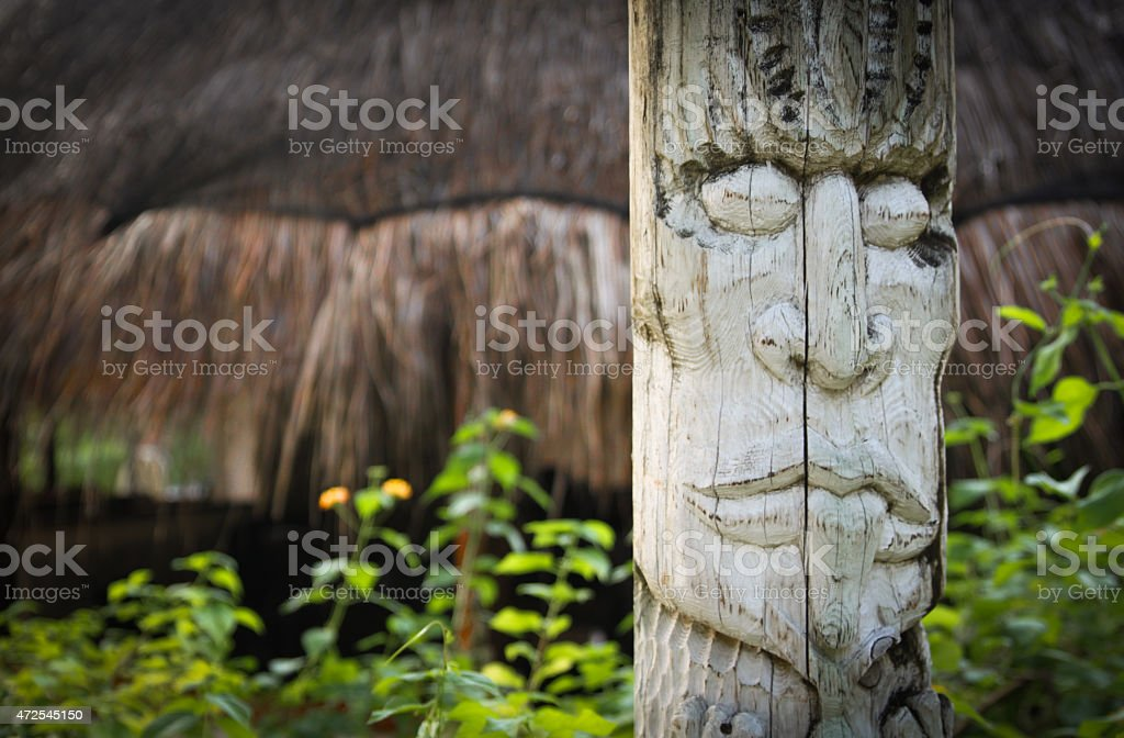 Exotic Wooden Totem stock photo