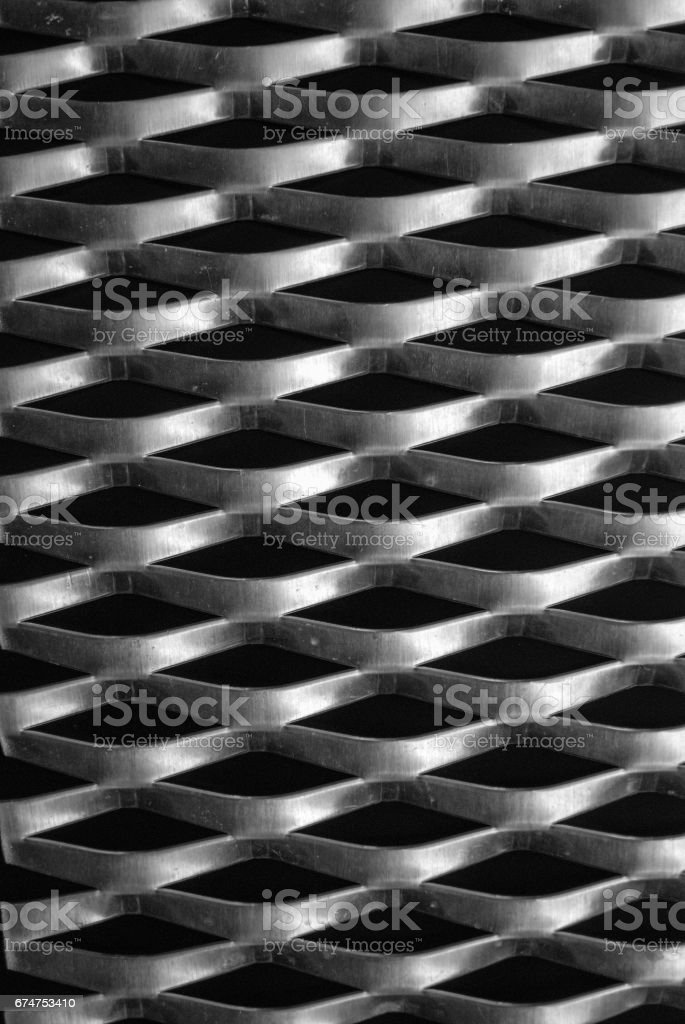 Expanded metal mesh close up view stock photo