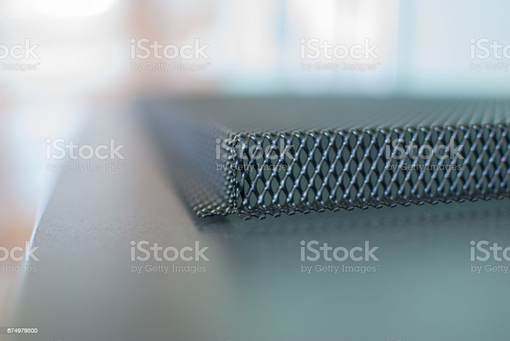 Expanded metal mesh panel close up stock photo