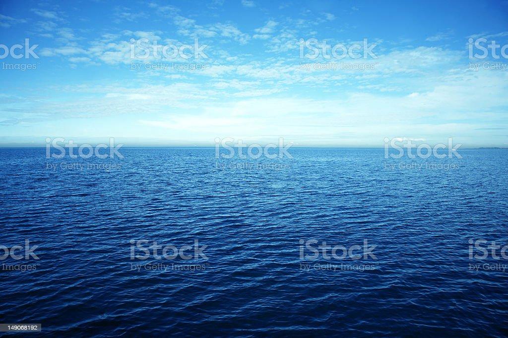 Expansive horizon view of the ocean stock photo