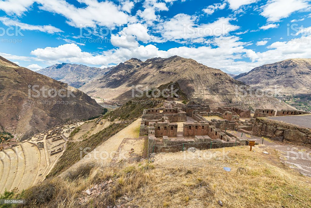 Expansive view of the Sacred Valley, Peru from Pisac stock photo