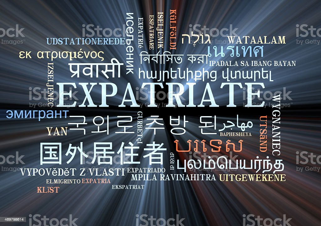 expatriate multilanguage wordcloud background concept glowing stock photo