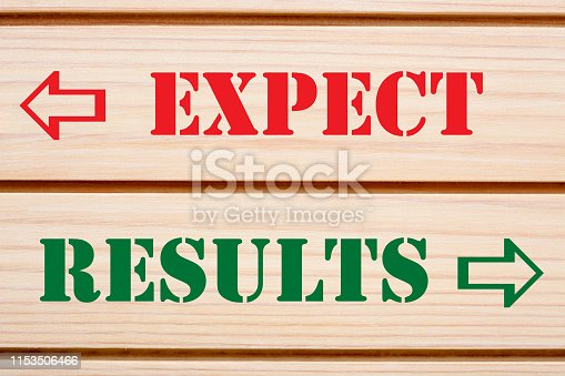 Expect and Results words written on wood wall decor.