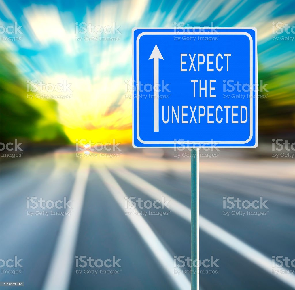 Esperar La Inesperada Frase Motivacional En Señal Azul Con