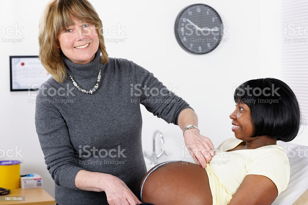 Expectant African American Woman Having Her Stomach Measured/ Prenatal  Assessment royalty-free stock photo
