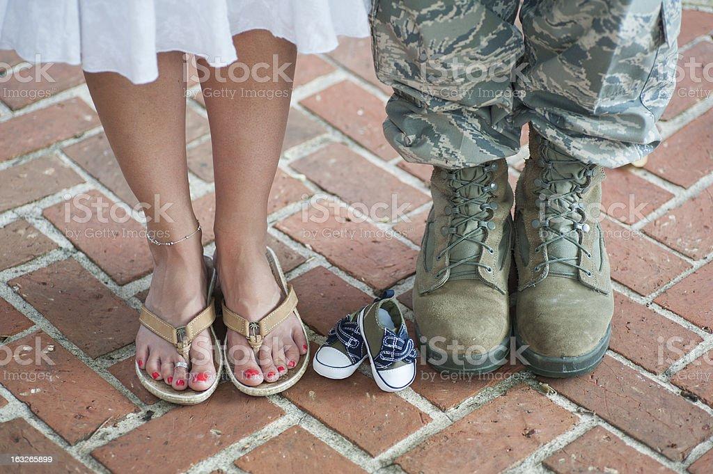 Expecting Military Family stock photo
