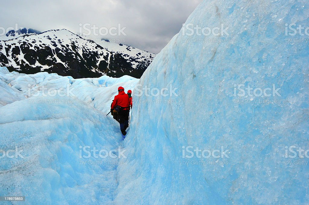 Expedition on Top of Mendenhall Glacier royalty-free stock photo
