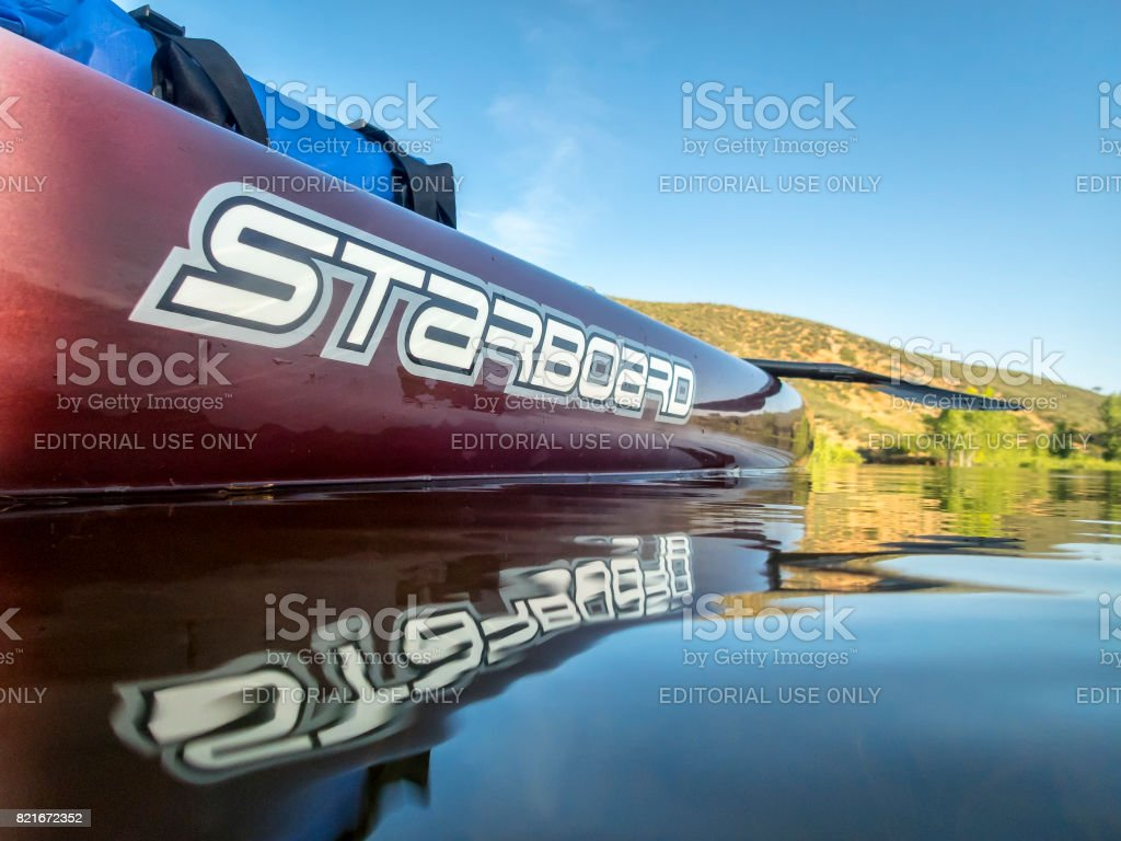 Expedition stand up paddleboard stock photo