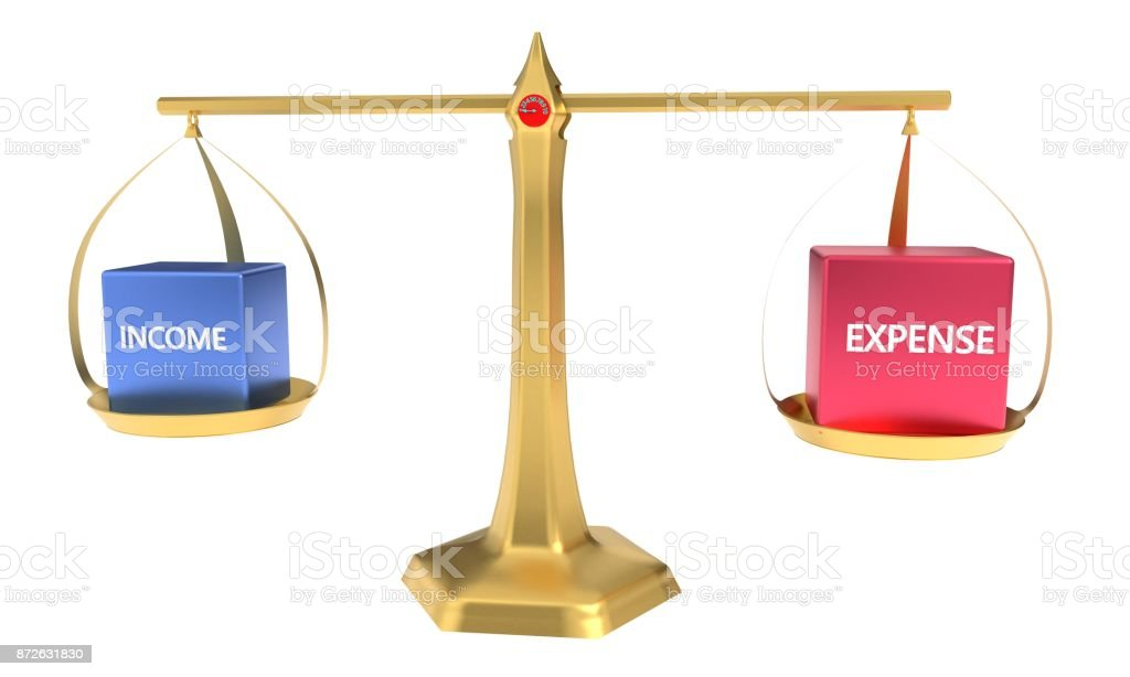 Expense and income in the balance concept balance3d rendering stock photo
