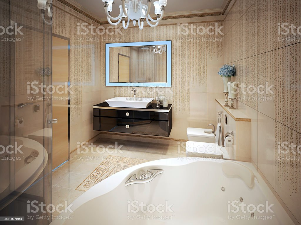 Expensive bathroom modern style stock photo