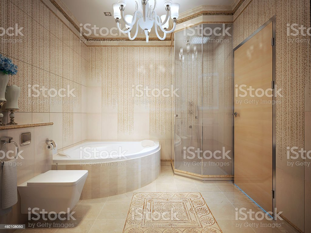Expensive bathroom with jacuzzi stock photo