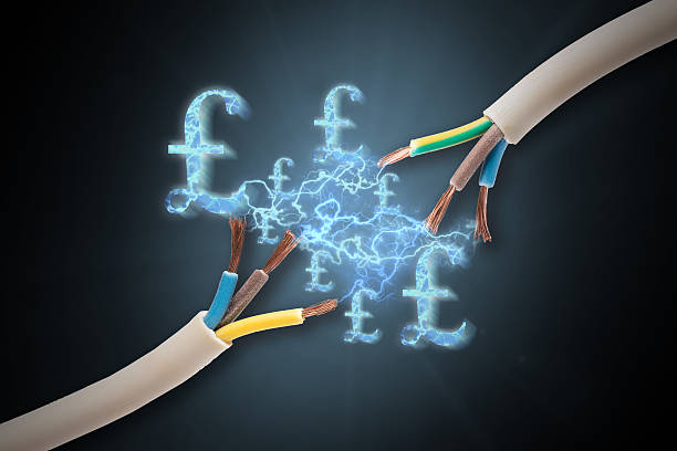 expensive electricity costs with pound signs - lightning стоковые фото и изображения