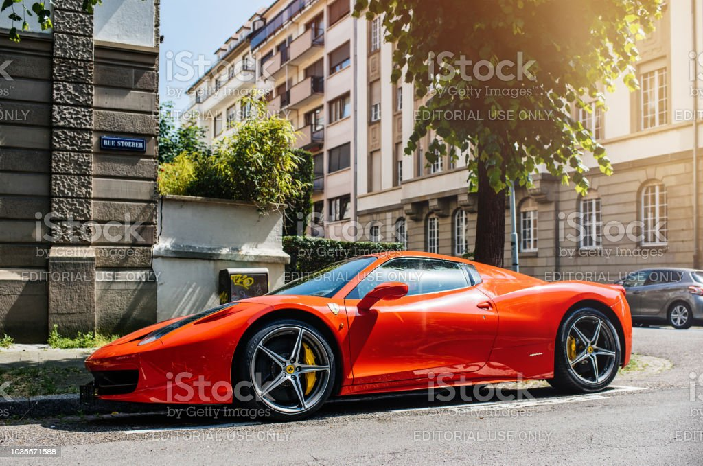 Expensive Ferrari red sportive car on street stock photo