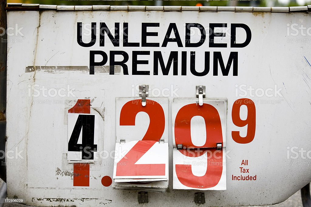Expensive Gas over Four Dollars a Gallon royalty-free stock photo