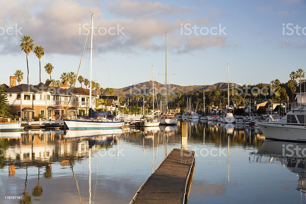 Expensive homes and boats ventura royalty-free stock photo