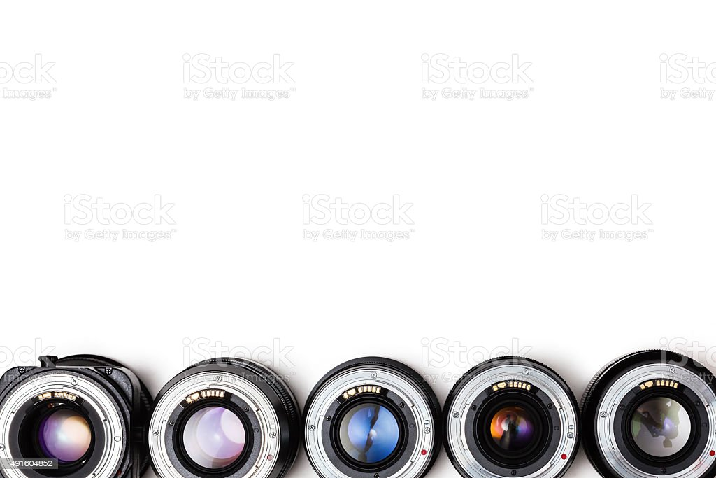 Expensive photographic lenses. The dream of every professional photographer stock photo