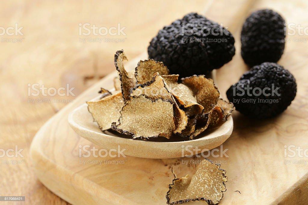 expensive rare black truffle mushroom - gourmet vegetable stock photo
