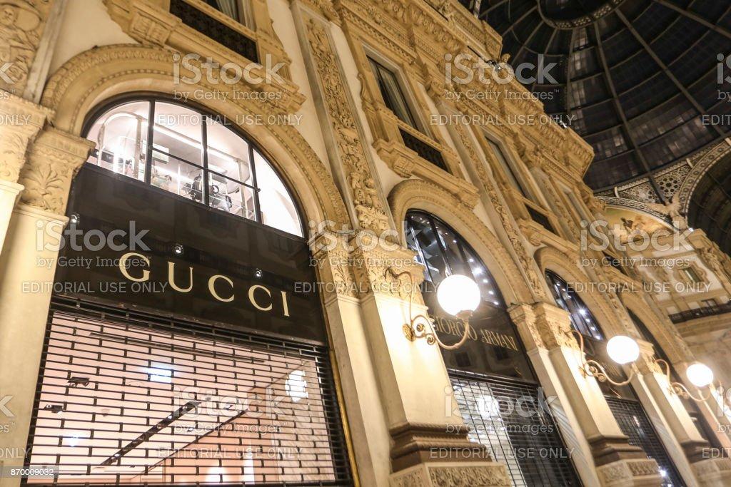 Expensive stores in Galleria Vittorio Emanuele II stock photo