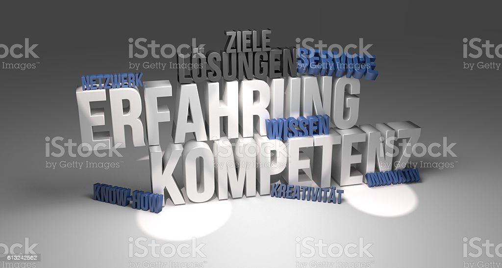 Erfahrung Kompetenz 3d render stock photo
