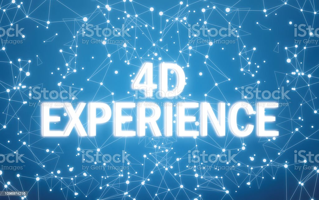 4D experience on digital interface and blue network background stock photo