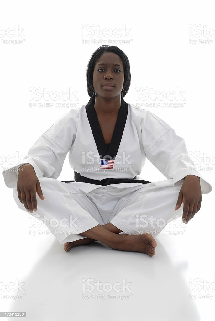 Experienced in tae kwon do training stock photo