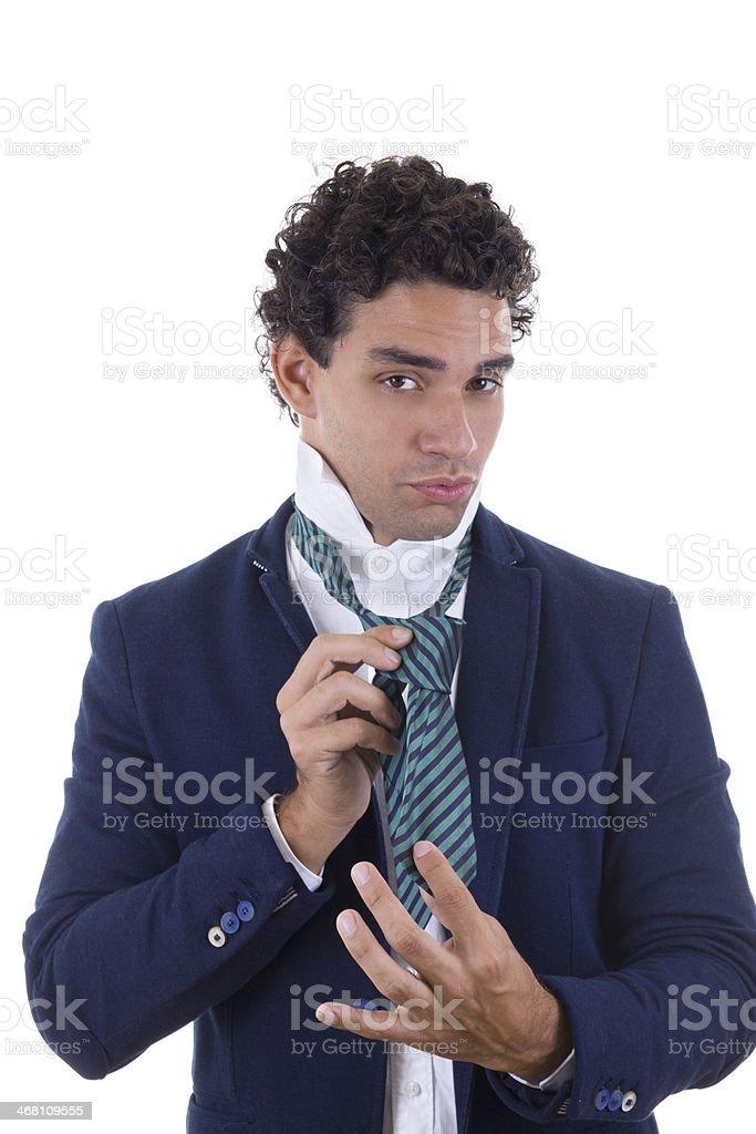 experienced man tied tie stock photo