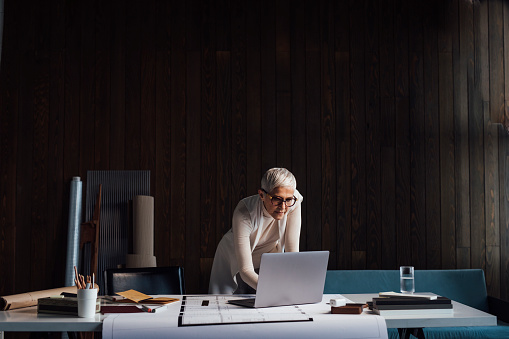 Multitasking: an elegant female architect working from her home office, using her laptop computer and designing a new project