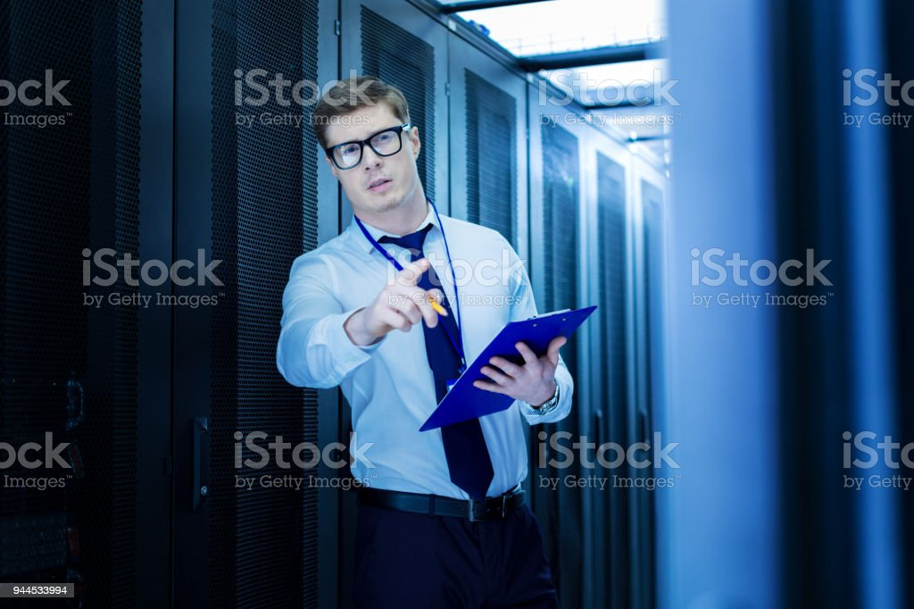 Experienced operator making a report stock photo